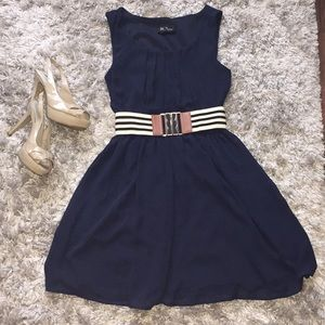 BCX navy chiffon dress with belt, size XS